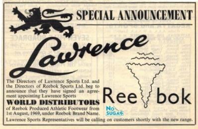Reebok Distributor Announcement Aug 1968